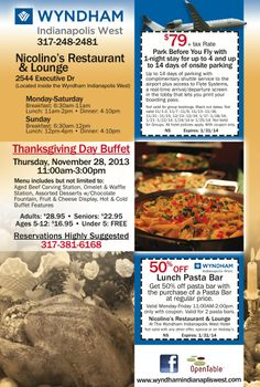 Enjoy these Neighborhood Source coupons for Wyndham Hotel airport parking and the lunch bar at Nicolino's Restaurant in Indy!