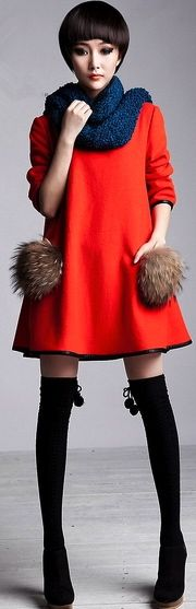 Korean Style Fashion Fur Pockets Woolen Coats