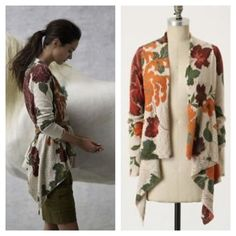 """🔴Hold🔴Anthropologie """"Flanders Field"""" Cardigan Truly beautiful flyaway open cardigan from Tabitha for Anthropologie. Bright colored flowers cover the oatmeal covered background. Excellent condition! Anthropologie Sweaters Cardigans"""