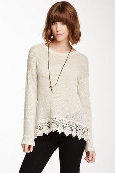 Bobeau Crochet Hem Slub Sweatshirt