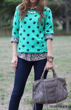 layer a sweater over a leopard print button-up  (not digging the minty green or polka dots, but I like the concept)