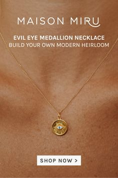 I designed the Evil Eye Medallion Necklace to celebrate your accomplishments - this is the perfect charm to gift someone commemorating a milestone.   The Maison Miru Secrets & Stories collection is an elevated, modern update on the classic charm bracelet - think of it as a cross between the classic heirloom bracelets and the friendship jewelry you exchanged with your friends on the schoolyard playground. Friendship Jewelry, Initial Charm, Necklaces, Bracelets, Evil Eye, Playground, Initials, My Design, Gold Necklace
