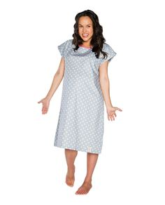 Lisa Gownies Labor & Delivery Gown (Grey & white polka dot). Matching pillowcase, baby receiving gown, nursing pajamas & robe available! www.milkandbaby.com
