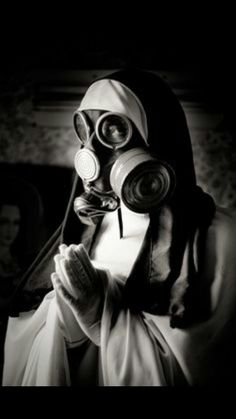 Pry for a better future. Gas mask.