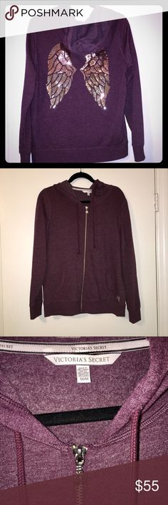 Victoria's Secret Angel Wing Hoodie EUC purple Victoria's Secret angel wing hoodie with gold sequins and silver zipper. So cute and comfortable, the inside is super soft! I love this hoodie, but I just don't reach for it enough to justify keeping it. My loss is your gain! Only worn a few times! Only sign of wear is a small amount of peeling on the small angel wing logo on the front (see last photo). Victoria's Secret Tops Sweatshirts & Hoodies
