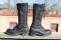 Vintage Steel Toe Black Leather LINESMAN Boots Mens Lace Up ANSI sz 11 #Linesman #WorkSafety