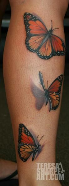 Tatouage Veau Réaliste 3d Papillon par Teresa Sharpe