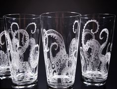 Octopus, Tentacles, Drinking Glass, Glassware Set, Kraken, Etched, Engraved Glass, Set of 4