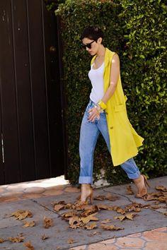 15 Duster Vest Outfits für Pre-Fall Period und Herbst - Style X Sleeveless Trench Coat, Sleeveless Duster, Sleeveless Blazer, Vest Outfits, Fashion Outfits, Look Blazer, Bodycon, Minimal Chic, Boyfriend Jeans