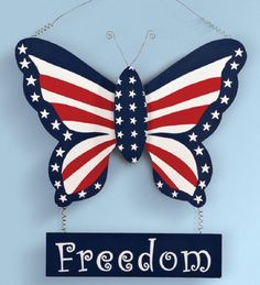 "Patriotic Americana Butterfly 4th July Stars Stripes Wall Art Sign 17 1/2"" Wood #Unbranded"