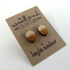 Wooden Acorn Stud Earrings by Layla Amber