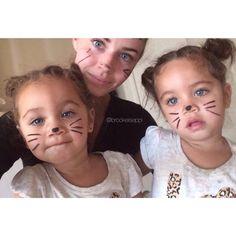 """My babies drew my car nose & whiskers on Rawrrrr!"" Drotini Twins"
