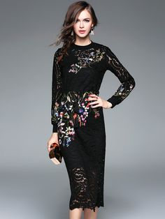 Black Heavy Embroidered Hollow Out Lace Dress