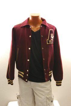 Vintage 50s Men's Reversible Maroon Varsity Jacket sz : 36 (# 11878)
