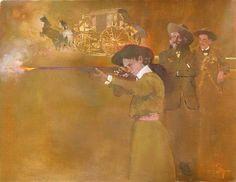"Bernie Fuchs - ""Annie Oakley with Buffalo Bill"", 1996 oil on linen, 25 x 32 inches"