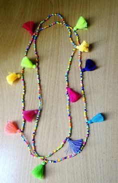 Summer Boho multi tasselled long Necklace/ seed bead & Tassel Necklace…