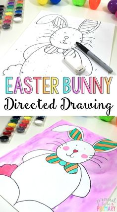 Are you searching for the perfect arts and craft activity for Easter? This directed drawing of the Easter Bunny provides teachers with an easy to teach lesson that Kindergarten and primary kids will love! {FREE directions included} via Art Spring Activities, Craft Activities, Easter Activities For Kids, Listening Activities, Montessori Activities, Outdoor Activities, Easter Drawings, Easter Arts And Crafts, Spring Crafts