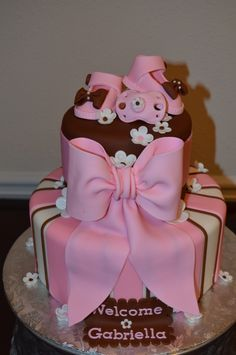 Pink and Brown Baby Shower Cake - ballet slippers on top would be super cute!