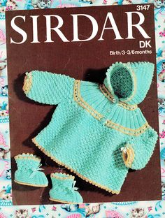 Items similar to Original Vintage Baby Knitting Pattern Sirdar 3147 Cute Bobble Matinee Coat Pixie Hood Yoke Bootees & Picots Pretty Heirloom on Etsy Knitting For Kids, Baby Knitting Patterns, Baby Patterns, Crochet Patterns, Vintage Baby Toys, Vintage Baby Clothes, Baby Footprints, Baby Cardigan, Vintage Knitting