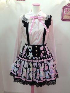 ✝☮✿★ KAWAII FASHION for GIRLS ✝☯★☮ Gothic Lolita: Bodyline print? Jsk & Blouse w/ suspenders