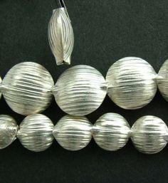 Sterling-silver-bead-lentille-ridged-moyenne-grande-x-1 en 12 mm = 2.42€ pièce