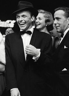 Frank Sinatra, Lauren Bacall and Humphrey Bogart at the premiere of The Desperate Hours, 1955.