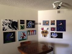 Added to the video game wall.  Legend of Zelda Mario Plants vs Zombies Minecraft Megaman Castle Crashers Chrono Trigger Banjo Kazooie Final Fantasy Super Meat Boy Mario Kart Megaman X  Acrylic painting
