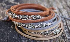 Boho Jewelry Flower Field Bohemian Indie Beachy Bracelets Wrap En Cuir, Bracelet Wrap, Leather Bracelets, Leather Necklace, Leather Cord, Tan Leather, Boho Jewelry, Handmade Jewelry, Cordon En Cuir
