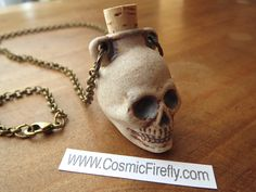 Anatomical Skull Necklace Natural Stoneware by CosmicFirefly
