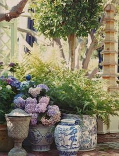 Mary Mcdonald via The Pink Pagoda I love this so much! I mean, I pretty much love a cluster of blue and white jars and pots anywhere.