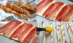 Sticks of puff pastry with ham  Puff pastry 250g  35 g Ham  egg