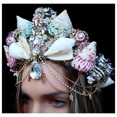 These Super Pretty Mermaid Crowns Are Magical AF ($60) ❤ liked on Polyvore featuring accessories and jeweled crown