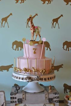 Amazing cake at a safari birthday party! See more party planning ideas at CatchM. Amazing cake at Giraffe Birthday Parties, Safari Birthday Cakes, Safari Cakes, Safari Theme Party, Circus Birthday, 2nd Birthday Parties, Birthday Fun, Jungle Party, 1st Birthday Decorations