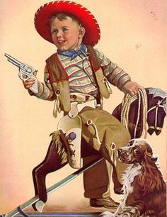 Adelaide Hiebel ( American artist) Playing cowboys and Indians was so popular. We  all watched western movies so the hot set up was having your own cowboy hat,guns and vest. The beginning of mass merchandizing -it was the start of a gold mine.