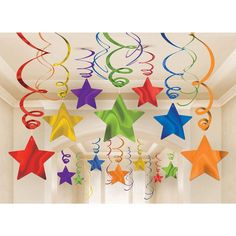 Pack of 30 rainbow star swirl decorations. Huge range of Rainbow party supplies at Discount Party Supplies. Cute Kids Crafts, Craft Stick Crafts, Preschool Crafts, Diy And Crafts, Paper Crafts, Classroom Ceiling, Classroom Decor, Star Decorations, School Decorations