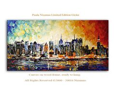 New York Giclee Print  on canvas Interior decor by Paula ready to hang cityscape by Artcoast on Etsy https://www.etsy.com/listing/386776088/new-york-giclee-print-on-canvas-interior