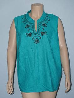 White Stag NWT 26w/28w 4x Teal w/ Brown Embroidered Linen Tunic Tank Top Blouse #WhiteStag #TankCami #Casual