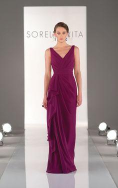 Elegant full length mulberry purple bridesmaid dresses come in glamorous Chiffon. Exclusive designer mulberry purple bridesmaid dresses by Sorella Vita.