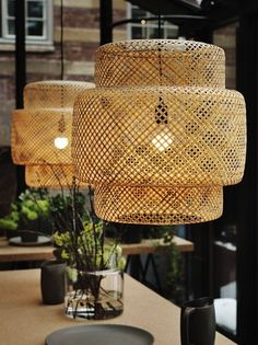 Sinnerlig collection for Ikea, bamboo-lattice pendant lights.