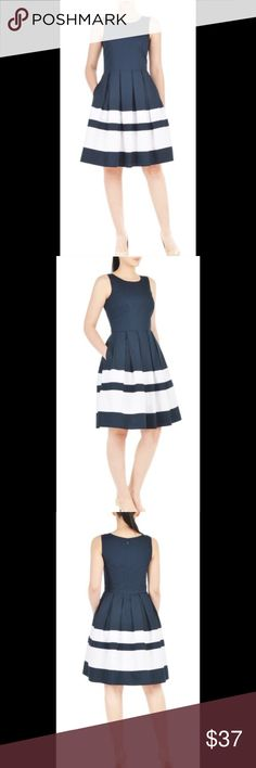 """New Eshakti Navy & White Fit & Flare Dress XL 18 New Eshakti navy fit & flare dress. Size XL 18  Measured flat: underarm to underarm: 42"""" Waist: 37"""" Length: 40"""" Eshakti size guide for bust XL 18: 43 ½"""" Jewel neck, bodice darts to shape, seamed waist. Box pleated flared box pleat skirt w/ contrast banded stripes, side seamed pockets. Lined skirt in cotton voile. Cotton, woven poplin, pre-shrunk, smooth finish, light crisp feel, no stretch. Machine wash eshakti Dresses"""