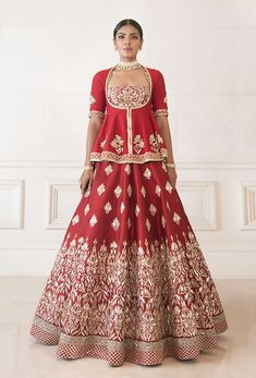Dense Red Raw Silk Lehenga   Manish Malhotra Raw Silk Lehenga, Indian Lehenga, Indian Bridal Wear, Indian Wedding Outfits, Lehenga Color Combinations, Designer Party Wear Dresses, Indian Gowns Dresses, Cocktail Gowns, Lehenga Designs