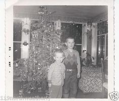 Vintage Christmas Photograph ~ Little Boys in Front of the Christmas Tree ~ Dec. 1957