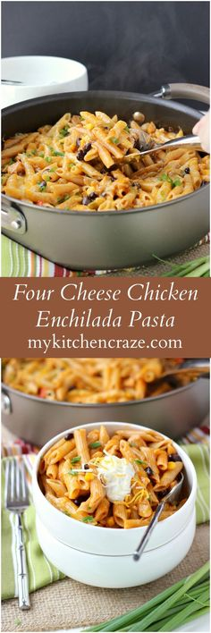 Four Cheese Chicken Enchilada Pasta - My Kitchen Craze - Ad ~ Four Cheese Chicken Enchilada Pasta ~ www.mykitchencraz… ~ Have an easy and delicious meal on your table within 10 minutes. Quick, easy and a family favorite! Pasta Recipes, Chicken Recipes, Dinner Recipes, Cooking Recipes, Healthy Recipes, Dinner Ideas, Yummy Recipes, Potluck Ideas, Cheesy Recipes