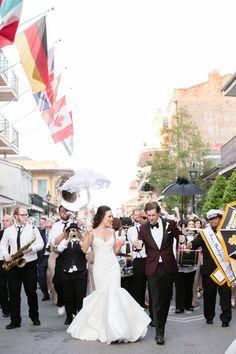 NoLo Wedding | Gown: Carol Hannah Pherousa | Photography: BrocatoPhoto | Venue:Broussard's Restaurant & Courtyard | Second Line band:The Phunky Monkeys