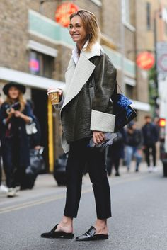 The Best Street Style At LFW SS17 #refinery29 http://www.refinery29.uk/2016/09/118817/street-style-lfw-ss17#slide-5 Another fan of the Robert Clergerie 'Alice' slippers......