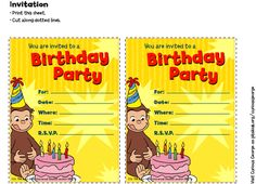 Curious George Invitations . Birthday Party . PBS Parents   PBS