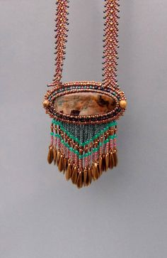 Bead Embroidery, Necklace,  Statement jewelry, Gemstone necklace,  Seed bead necklace, Petrified wood opal,  Brown,   Emerald green,  Bronze by vicus. Explore more products on http://vicus.etsy.com
