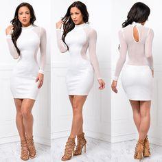 High-neck Bodycon Long Sleeve Mesh Short Club Dress