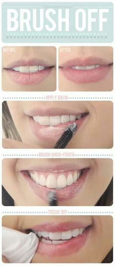 lip exfoliator: 1/4 tsp baking soda + enough enough water to make a paste. use your finger or a brush