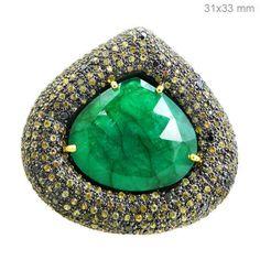 Emerald/Sapphire Gemstone 14 k Gold Diamond Pave Ring 925 Silver Christmas Gift #Handmade